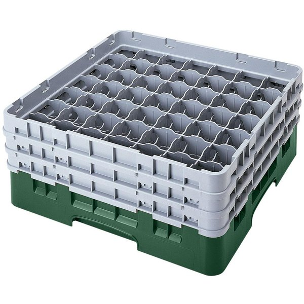 "Cambro 49S800119 Sherwood Green Camrack Customizable 49 Compartment 8 1/2"" Glass Rack Main Image 1"