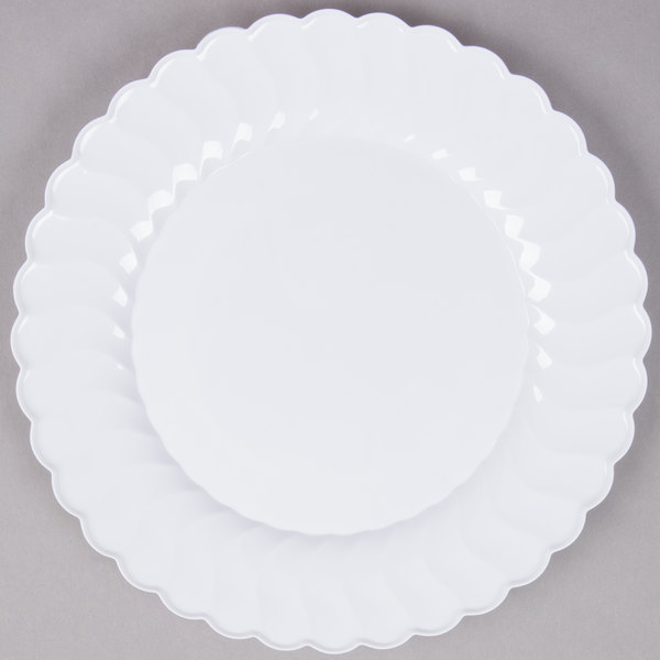 Fineline Flairware 210-WH 10 1/4 inch White Plastic Plate - 18/Pack