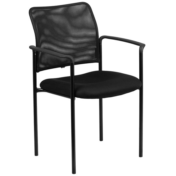 Flash Furniture GO-516-2-GG Black Mesh Comfortable Stackable Steel Side Chair with Arms Main Image 1