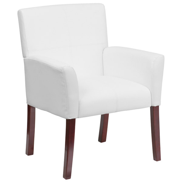 Flash Furniture BT-353-WH-GG White Leather Executive Side / Reception Chair with Mahogany Legs