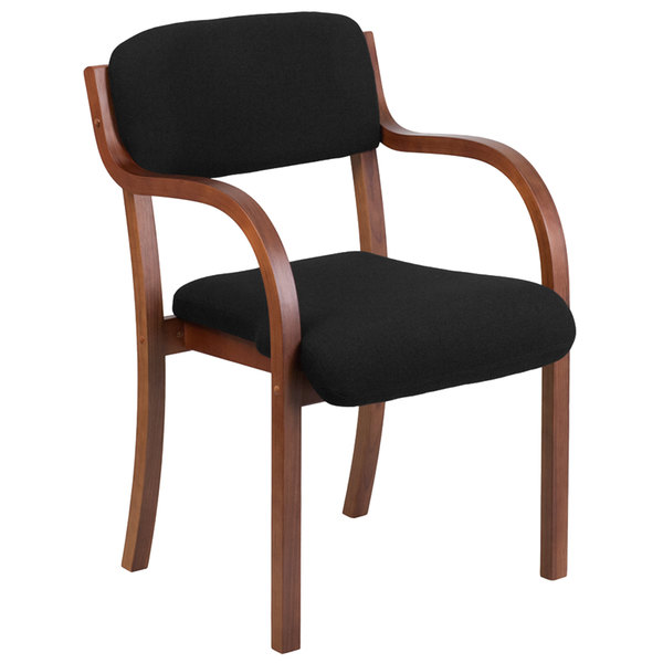 Flash Furniture SD-2052A-WAL-GG Contemporary Black Fabric Wood Side Chair with Walnut Frame Main Image 1