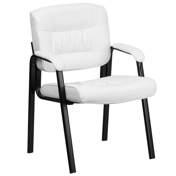 Flash Furniture BT-1404-WH-GG White Leather Executive Side Chair with Black Frame Finish Main Image 1