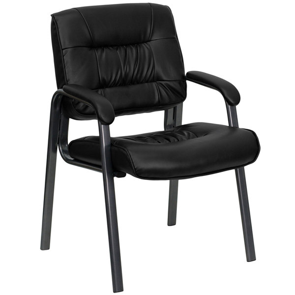 Flash Furniture BT-1404-BKGY-GG Black Leather Executive Side Chair with Titanium Frame Finish Main Image 1