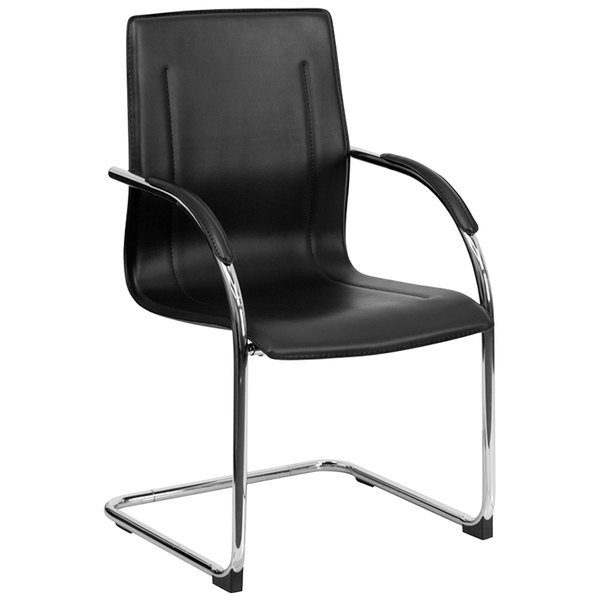 Flash Furniture BT-509-BK-GG Black Vinyl Side Chair with Chrome Sled Base Main Image 1