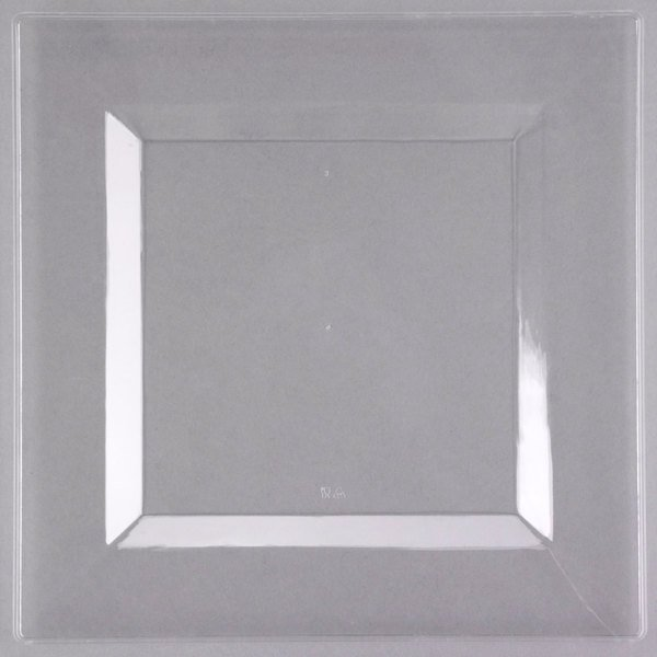 Visions Florence 10 inch Square Clear Plastic Plate - 10/Pack