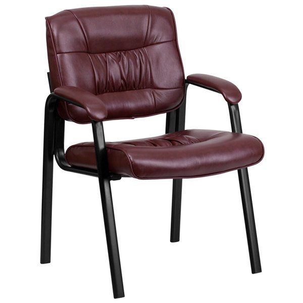 Flash Furniture BT-1404-BURG-GG Burgundy Leather Executive Side Chair with Black Frame Finish Main Image 1