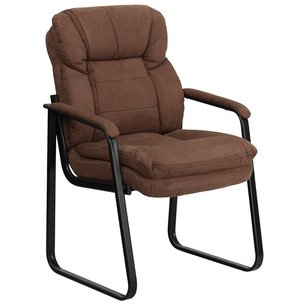 Flash Furniture GO-1156-BN-GG Brown Microfiber Executive Side Chair with Sled Base Main Image 1