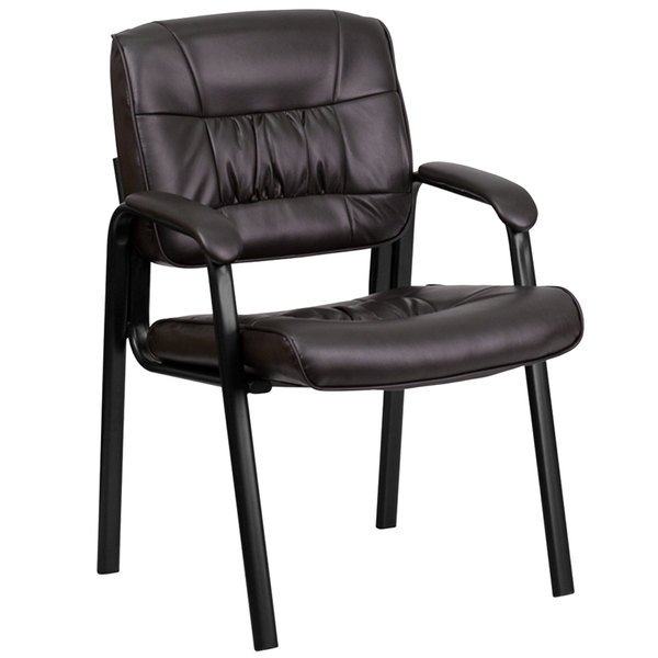 Flash Furniture BT-1404-BN-GG Brown Leather Executive Side Chair with Black Frame Finish