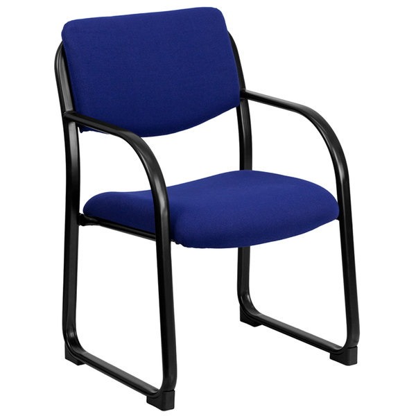 Flash Furniture BT-508-NVY-GG Navy Fabric Executive Side Chair with Sled Base Main Image 1