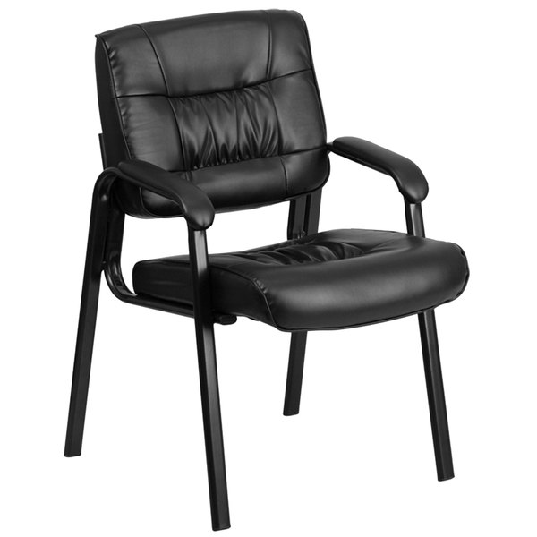 Flash Furniture BT-1404-GG Black Leather Executive Side Chair with Black Frame Finish Main Image 1