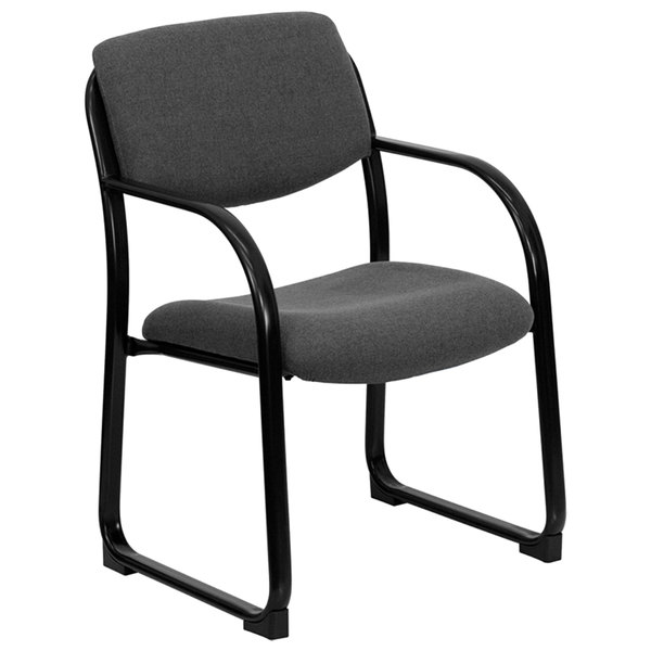 Flash Furniture BT-508-GY-GG Gray Fabric Executive Side Chair with Sled Base Main Image 1