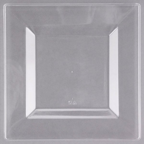 Visions Florence 6 inch Square Clear Plastic Plate - 120/Case