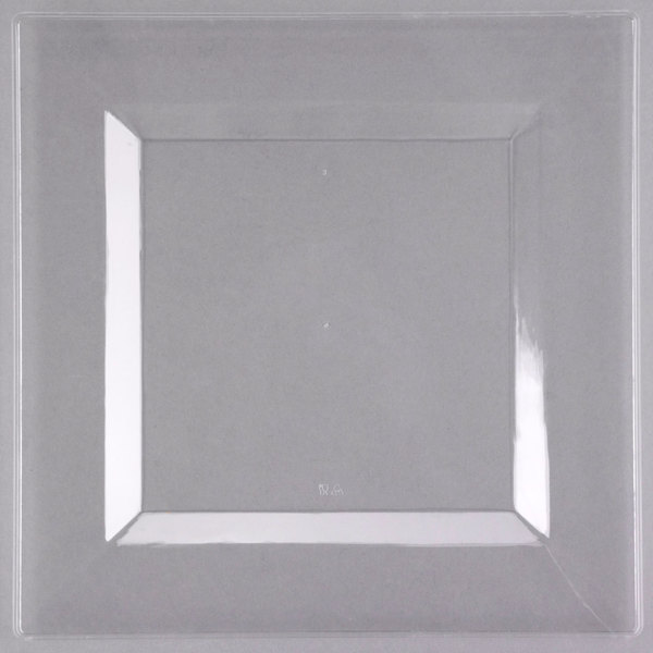 Visions Florence 10 inch Square Clear Plastic Plate - 120/Case
