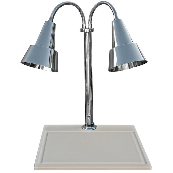 """Hanson Heat Lamps DLM/WB/100/ST/CH Dual Lamp 18"""" x 20"""" Chrome Carving Station with White Synthetic Granite Base"""