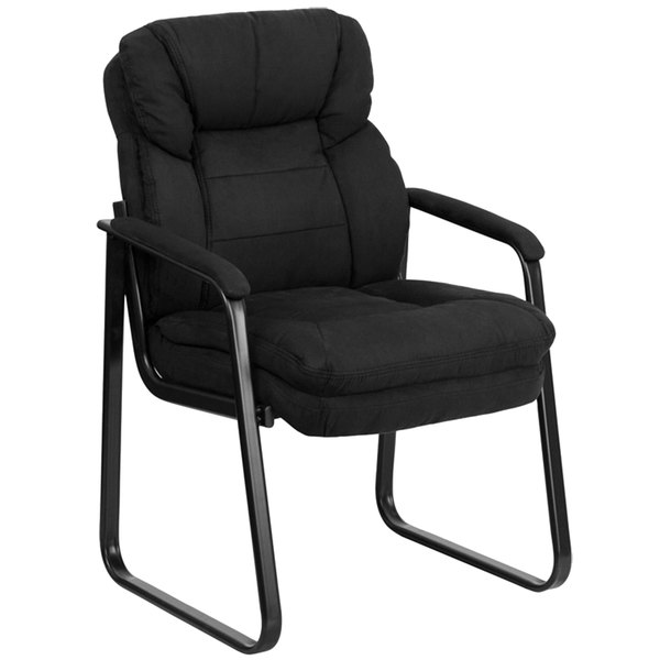 Flash Furniture GO-1156-BK-GG Black Microfiber Executive Side Chair with Sled Base