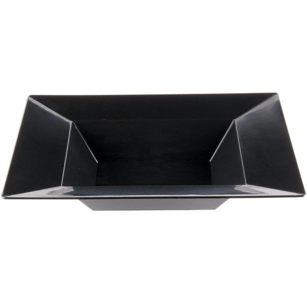 Visions Florence 12 oz. Black Square Plastic Bowl - 10/Pack
