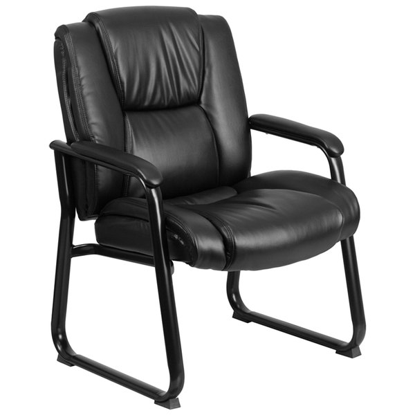 """Flash Furniture GO-2138-GG 500 lb. Capacity Big & Tall Black Extra Padded Leather Executive Side Chair with Sled Base - 24 1/2"""" x 23"""" Back Main Image 1"""