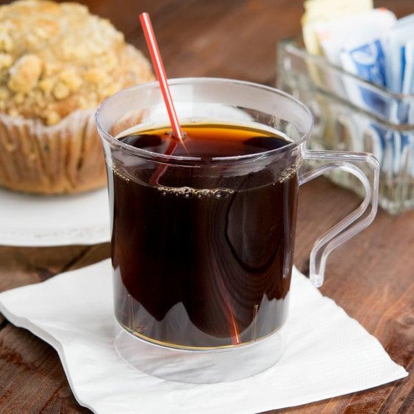 Visions 8 oz. Clear Plastic Coffee Mug - 8/Pack