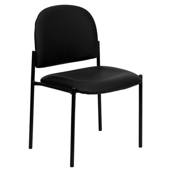 Flash Furniture BT-515-1-VINYL-GG Black Vinyl Stackable Side Chair Main Image 1