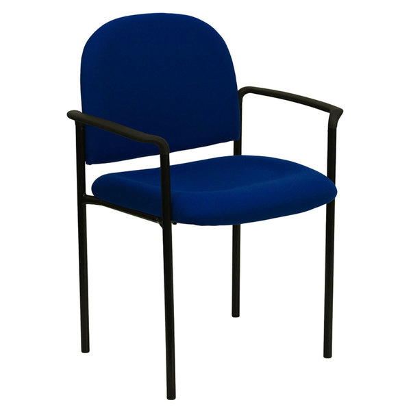 Flash Furniture BT-516-1-NVY-GG Navy Fabric Stackable Side Chair with Arms