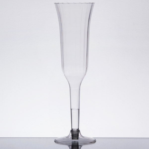 Visions 5 oz. Clear 2-Piece Plastic Champagne Flute - 10/Pack
