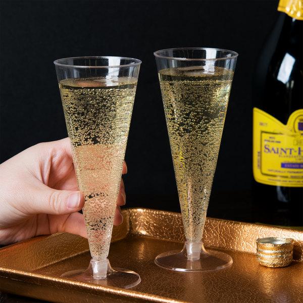 Visions 6 oz. Clear 2-Piece Plastic Cone Champagne Flute - 120/Case