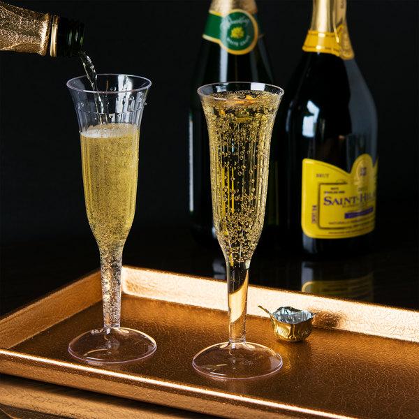visions 5 oz clear 1 piece plastic champagne flute 96 case