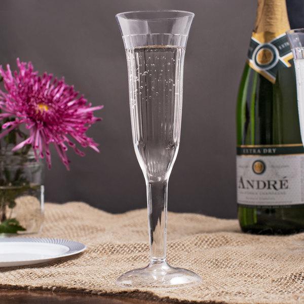 Visions 5 Oz Clear 1 Piece Plastic Champagne Flute 96case