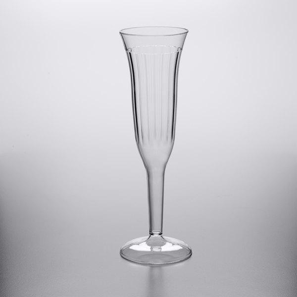 Visions 5 Oz Clear 1 Piece Plastic, Glass Champagne Flutes Bulk