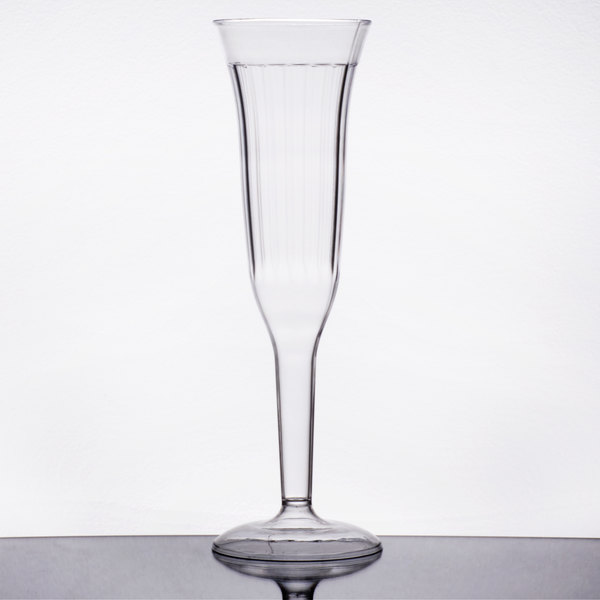 Visions 5 oz. Clear 1-Piece Plastic Champagne Flute  - 8/Pack
