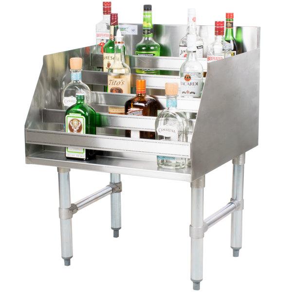 "Regency 24"" Five-Tiered Stainless Steel Liquor Display Rack - 23"" Deep"