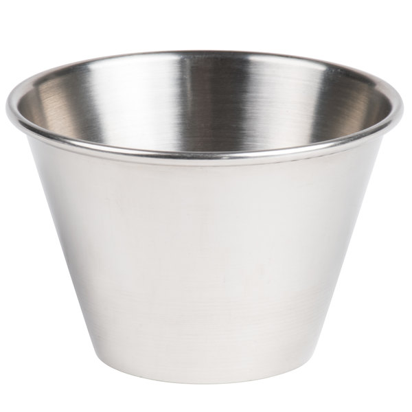 4 oz. Stainless Steel Round Sauce Cup - 12/Pack