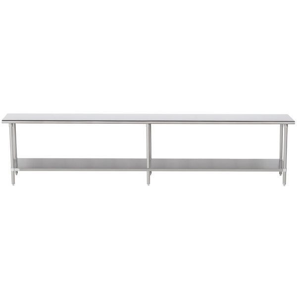 """Advance Tabco Premium Series SS-2412 24"""" x 144"""" 14 Gauge Stainless Steel Commercial Work Table with Undershelf"""