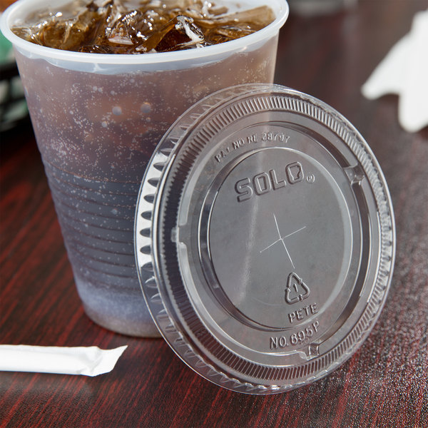 Dart Solo 695TS 12/14 oz. Clear PET Lid with Straw Slot - 1000/Case