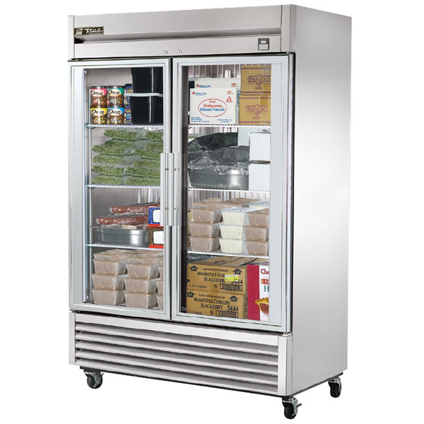 True TS-49FG 54 inch Stainless Steel Two Section Glass Door Reach In Freezer