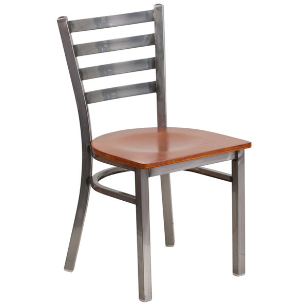 Flash Furniture XU-DG694BLAD-CLR-CHYW-GG Clear-Coated Ladder Back Metal Restaurant Chair with Cherry Wood Seat