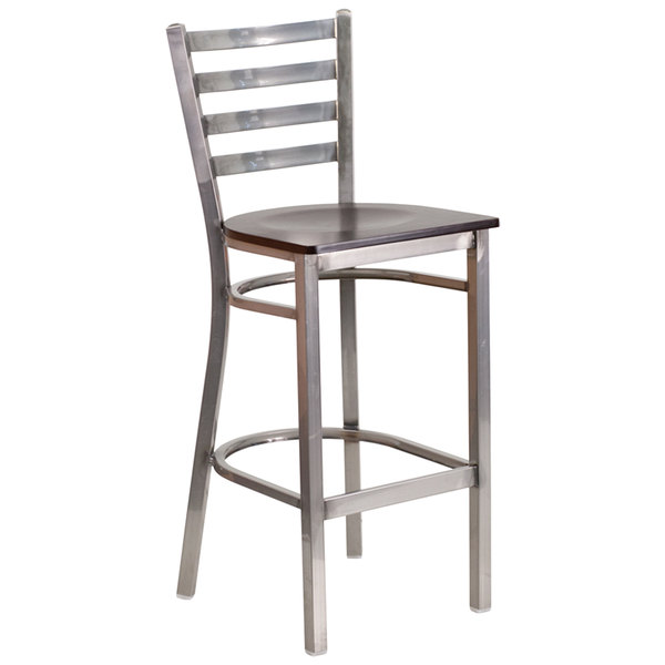 Flash Furniture XU-DG697BLAD-CLR-BAR-WALW-GG Clear-Coated Ladder Back Metal Restaurant Barstool with Walnut Wood Seat