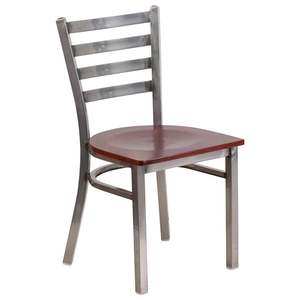 Flash Furniture XU-DG694BLAD-CLR-MAHW-GG Clear-Coated Ladder Back Metal Restaurant Chair with Mahogany Wood Seat Main Image 1