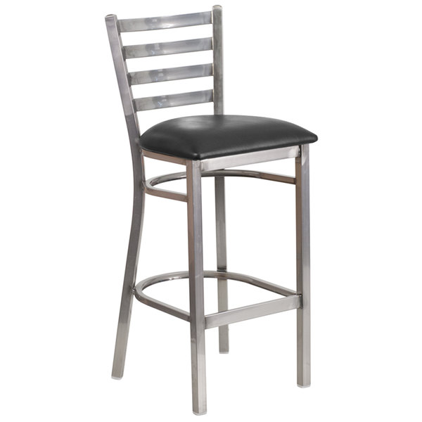 Admirable Flash Furniture Xu Dg697Blad Clr Bar Blkv Gg Clear Coated Ladder Back Metal Restaurant Barstool With Black Vinyl Seat Alphanode Cool Chair Designs And Ideas Alphanodeonline