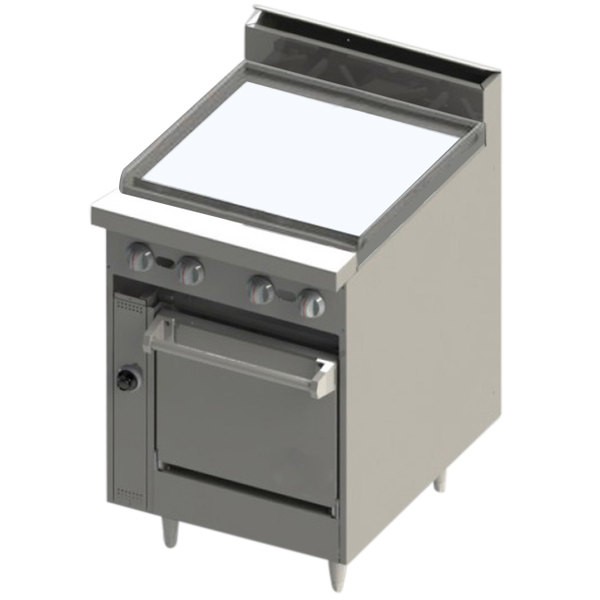 """Blodgett BR-24G-24C Natural Gas 24"""" Manual Range with Griddle Top and Convection Oven Base - 78,000 BTU"""