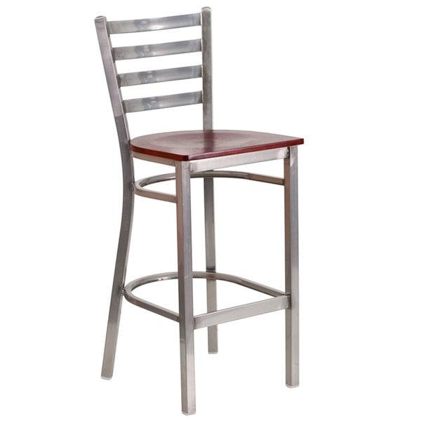 Flash Furniture XU-DG697BLAD-CLR-BAR-MAHW-GG Clear-Coated Ladder Back Metal Restaurant Barstool with Mahogany Wood Seat Main Image 1