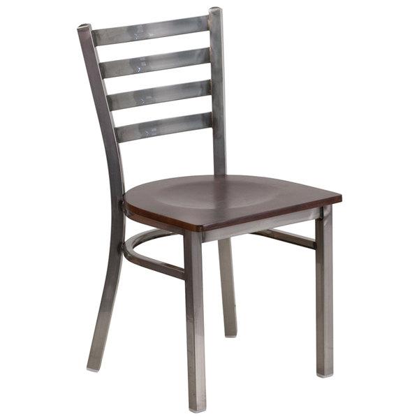 Flash Furniture XU-DG694BLAD-CLR-WALW-GG Clear-Coated Ladder Back Metal Restaurant Chair with Walnut Wood Seat Main Image 1