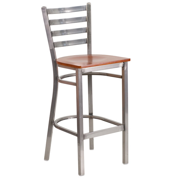 Flash Furniture XU-DG697BLAD-CLR-BAR-CHYW-GG Clear-Coated Ladder Back Metal Restaurant Barstool with Cherry Wood Seat