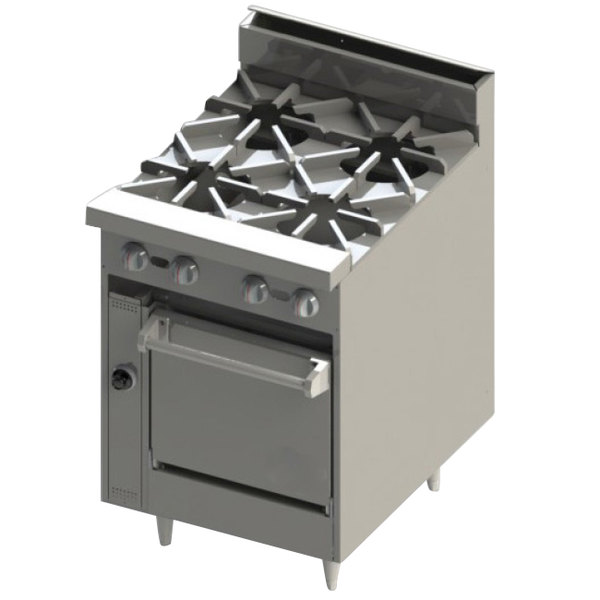 "Blodgett BR-4-24C Natural Gas 4 Burner 24"" Range with Convection Oven Base - 150,000 BTU Main Image 1"