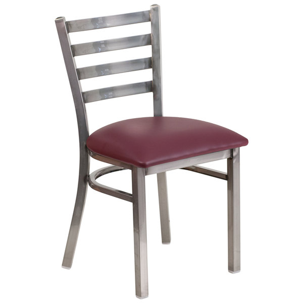 Flash Furniture XU-DG694BLAD-CLR-BURV-GG Clear-Coated Ladder Back Metal Restaurant Chair with Burgundy Vinyl Seat