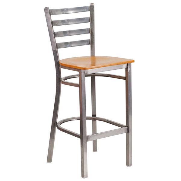 Flash Furniture XU-DG697BLAD-CLR-BAR-NATW-GG Clear-Coated Ladder Back Metal Restaurant Barstool with Natural Wood Seat Main Image 1
