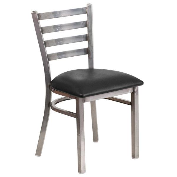 Flash Furniture XU-DG694BLAD-CLR-BLKV-GG Clear-Coated Ladder Back Metal Restaurant Chair with Black Vinyl Seat Main Image 1