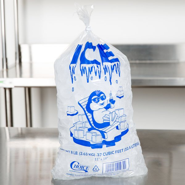 Choice 8 lb. Clear Wicketed Ice Bag with Ice Print and Handle - 1000/Case