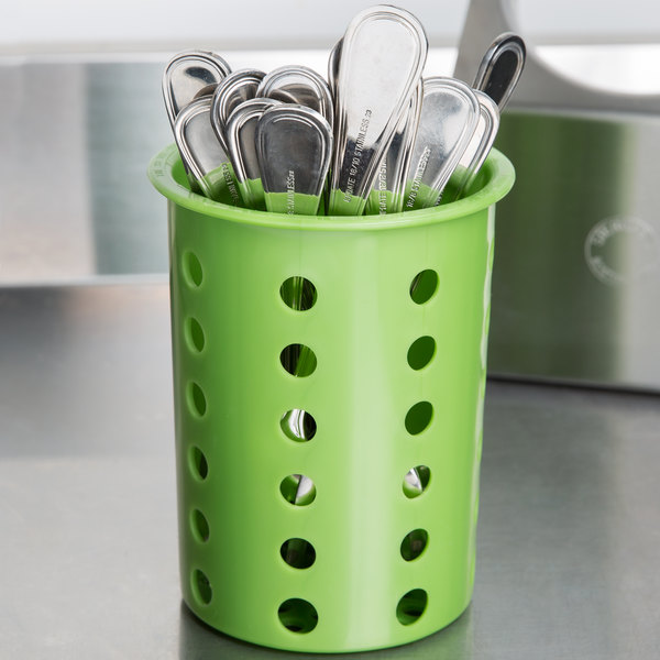 Steril-Sil RP-25-LIME Green Plastic Straight Sided Flexible Silverware Cylinder