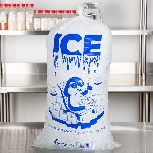 Choice 50 lb. Clear Plastic Ice Bag with Ice Print - 250/Case Main Image 4